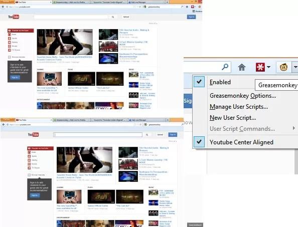 YouTube-User-Script-Left-Alligned