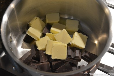 Put the butter and chocolate in a medium pan