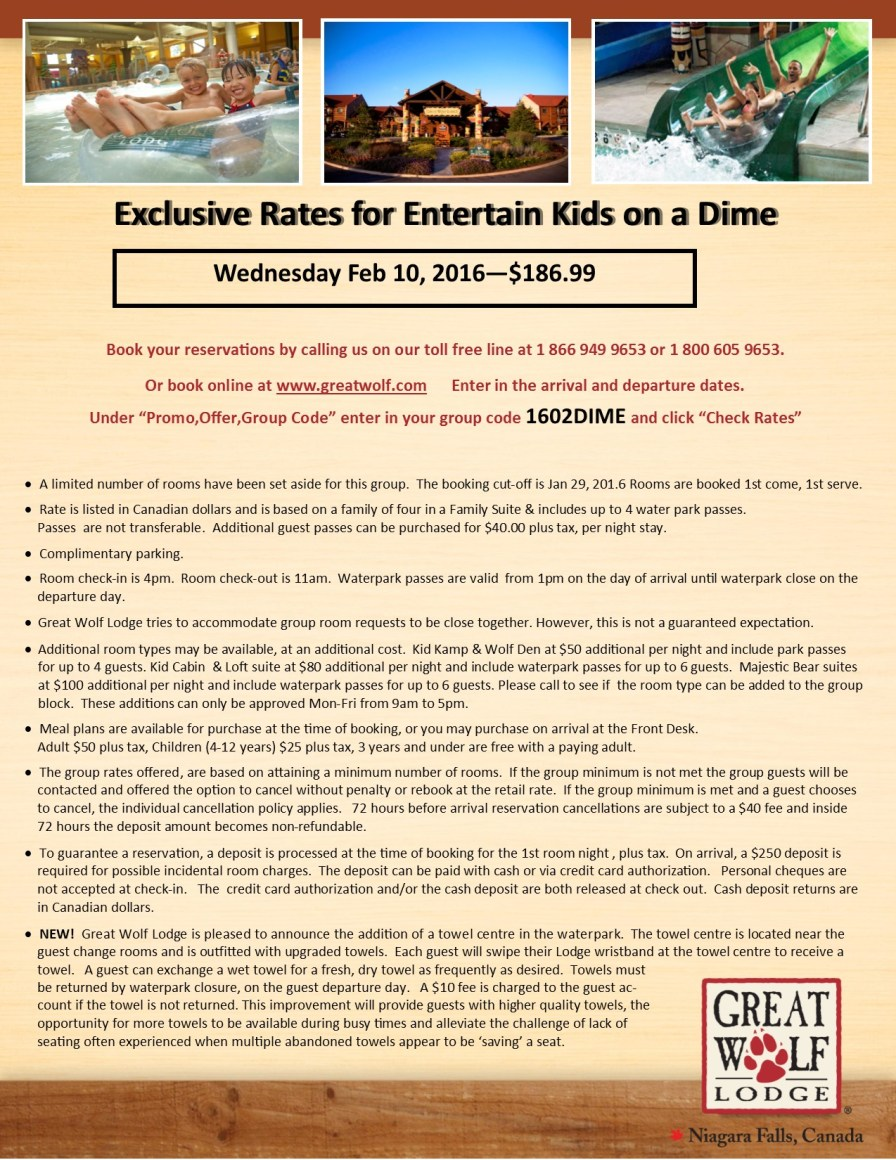 Entertain Kids on a Dime - Booking Information for Feb 10, 2016 at Great Wolf Lodge (1)