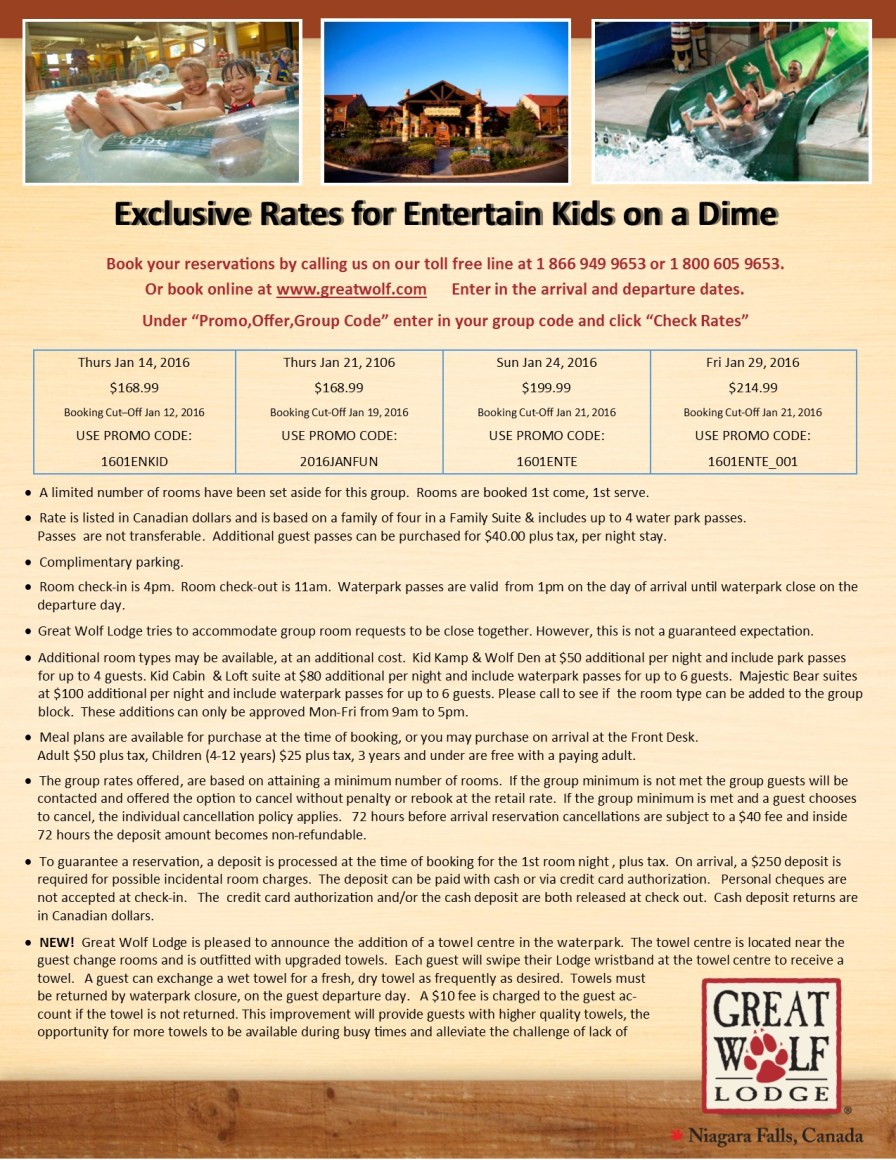 Entertain Kids on a Dime - Booking Information for Jan 14, 21, 24 and 29, 2016 at Great Wolf Lodge