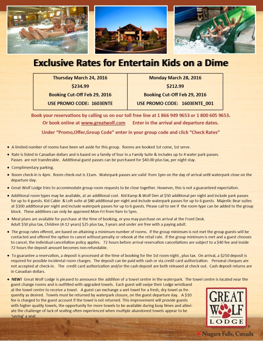 Entertain Kids on a Dime - Booking Information for March 24 & 28, 2016 trip to Great Wolf Lodge (1)