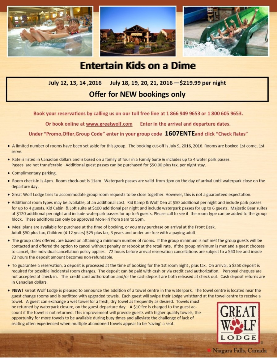 thumbnail_Entertain Kids on a Dime - Booking Information for July 12-14%2c July 18-21%2c 2016 at Great Wolf Lodge
