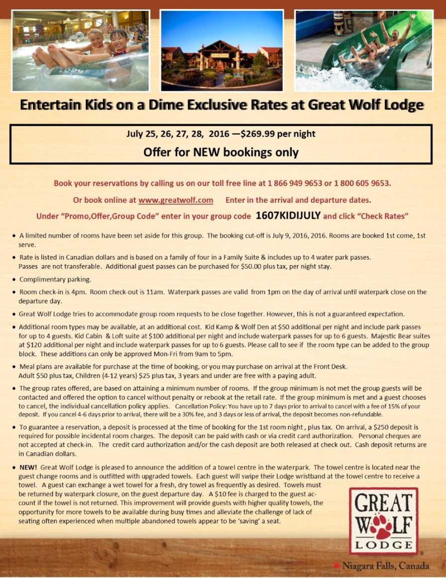 thumbnail_Entertain Kids on a Dime - Booking Information for July 25-28%2c 2016 at Great Wolf Lodge