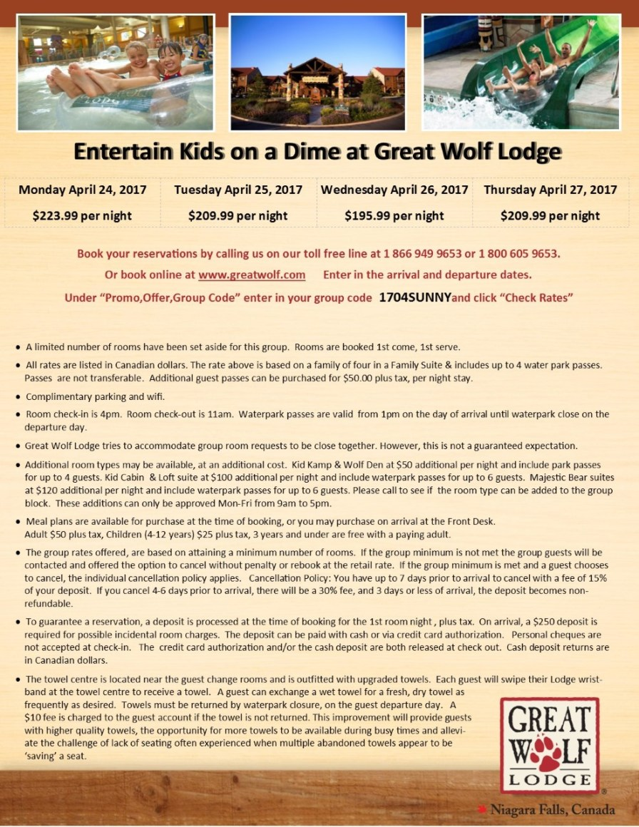 thumbnail_Entertain Kids on a Dime - April 24 25 26 & 27 2017 booking flyer for Great Wolf Lodge