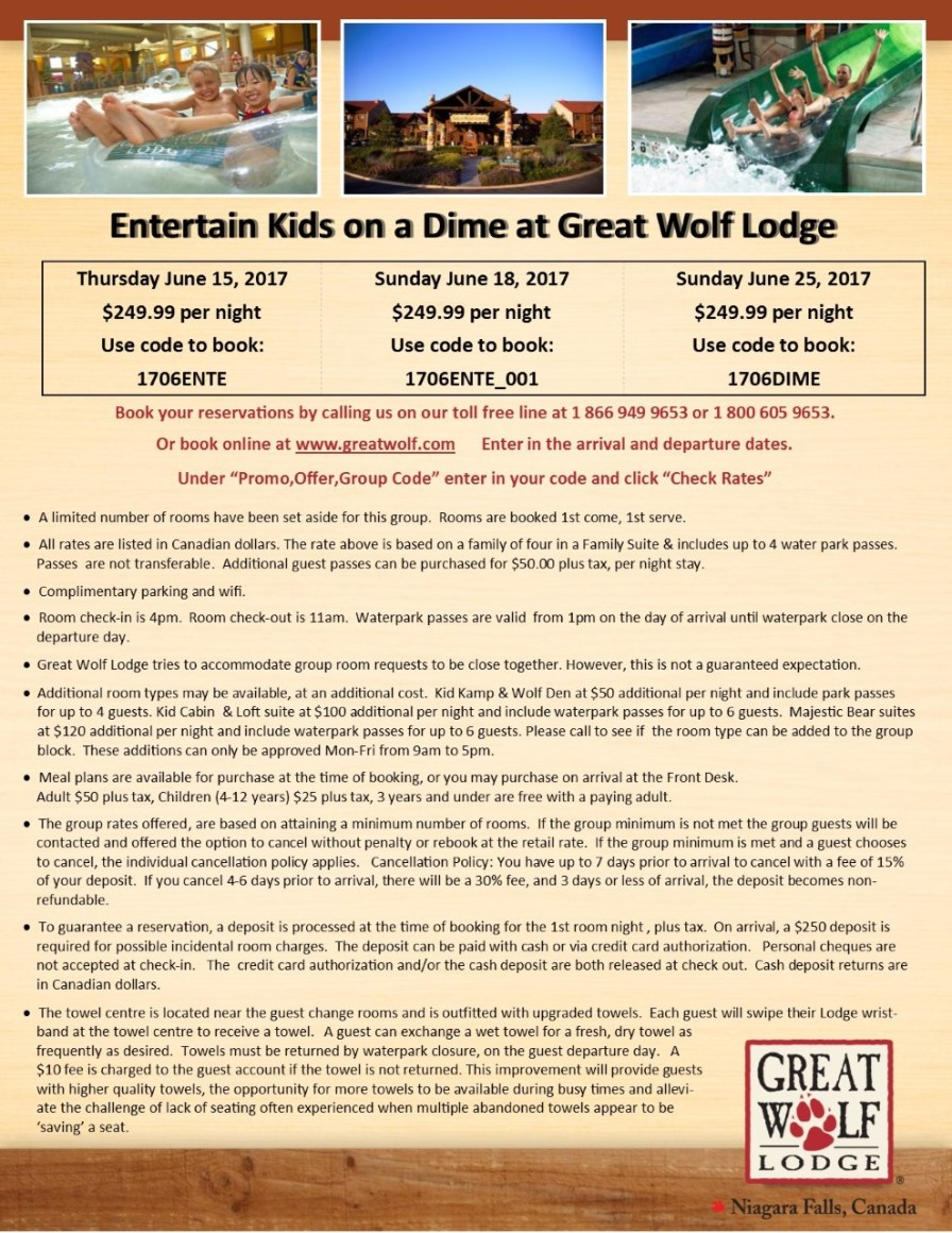 thumbnail_Entertain Kids on a Dime - June 15 18 & 25 2017 booking flyer for Great Wolf Lodge