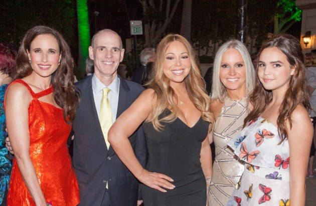 At the Hallmark Channel and Hallmark Movies & Mysteries party: Andie MacDowell, Bill Abbott, Mariah Carey, Michelle Vicary, Bailee Madison (Credit: Copyright 2015 Crown Media, Inc./Alexx Henry Studios)
