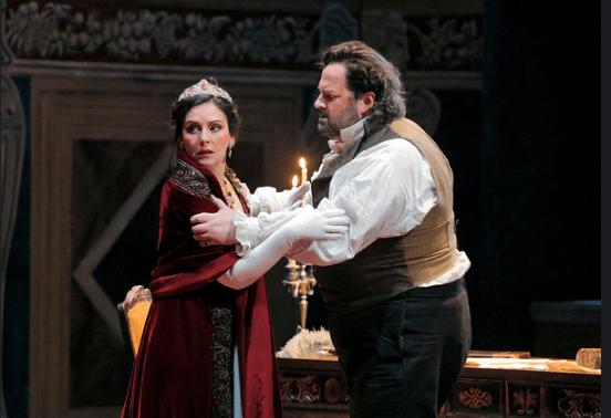 Soprano Alexia Voulgaridou is Tosca and tenor Gwyn Hughes Jones is Cavaradossi in San Diego Opera's TOSCA (February, 2016). Photo copyright Cory Weaver.