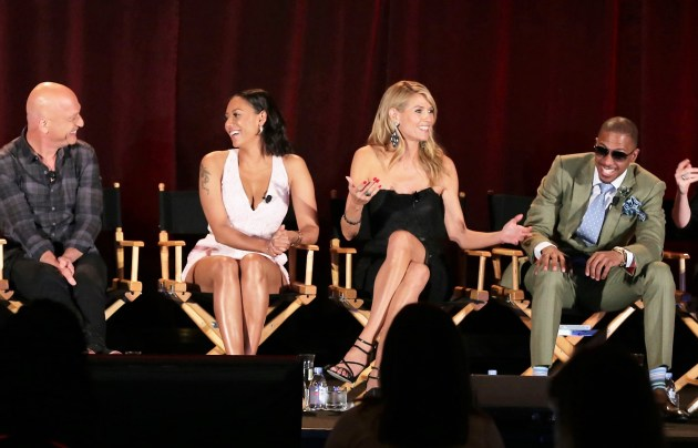 "NBC's ""America's Got Talent"" judges Howie, Mel B, Heidi and host Nick Cannon. (Photo: Chris Haston/NBC)"