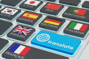 Foreign languages translation concept, online translator, macro
