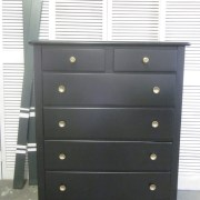 Tall Black Dresser With Gold Flower Knobs