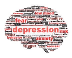 Depression conceptual design isolated on white background. Low mood concept