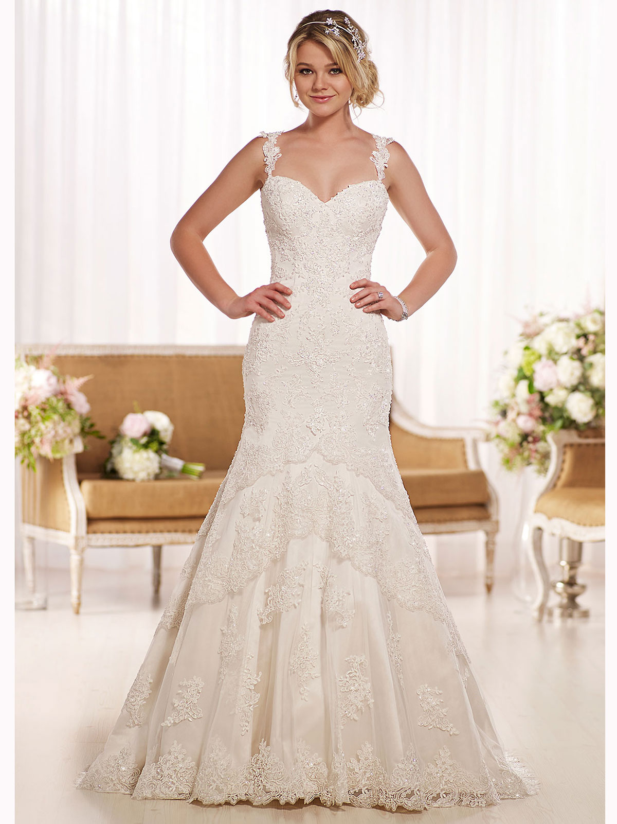 wedding gowns with lace straps wedding dress with straps Over The Shoulder Lace Strap Essense Wedding Dress D