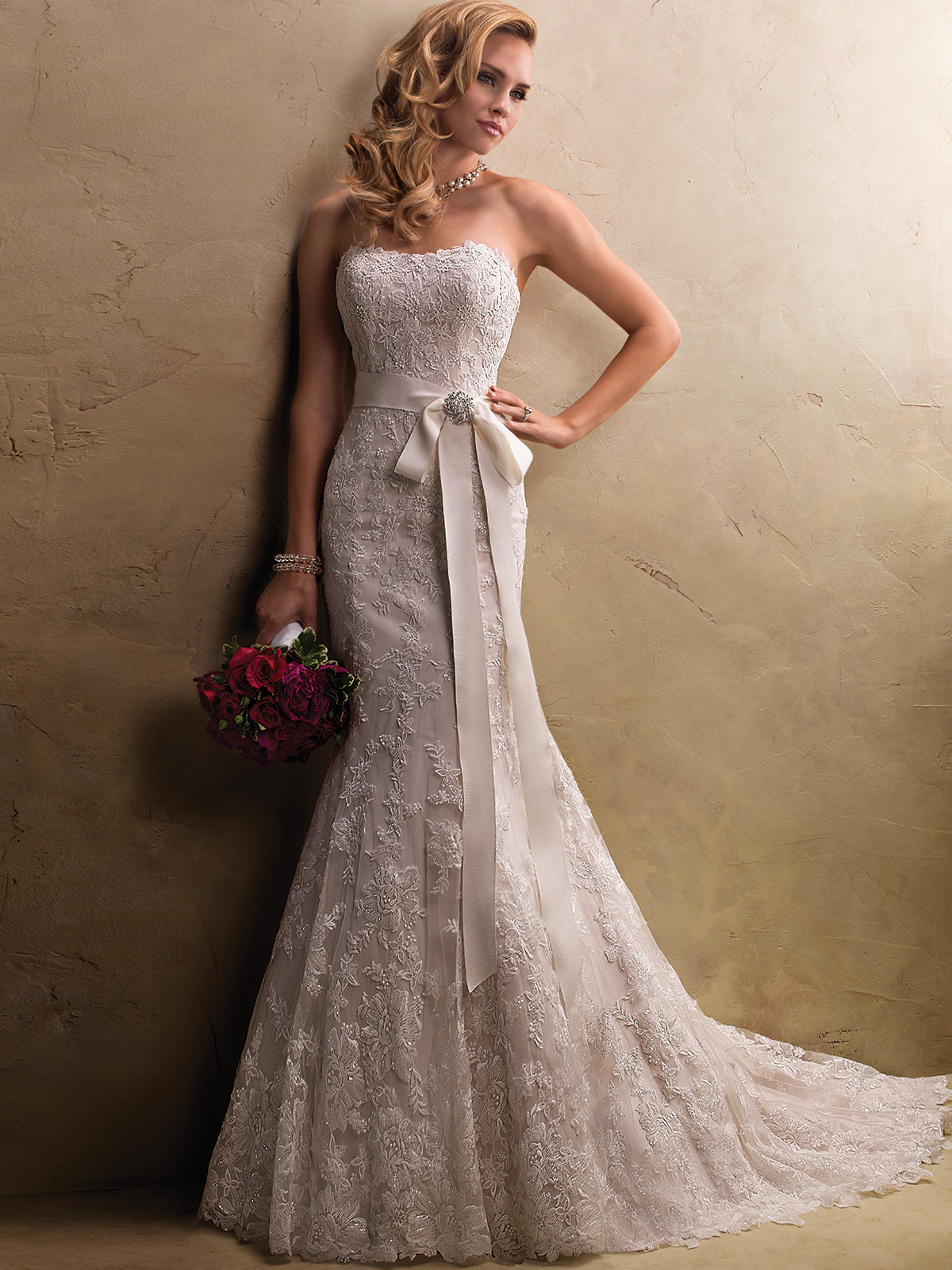 maggie sottero strapless lace wedding dresses strapless lace wedding dress Maggie Sottero Strapless Lace Wedding Dresses