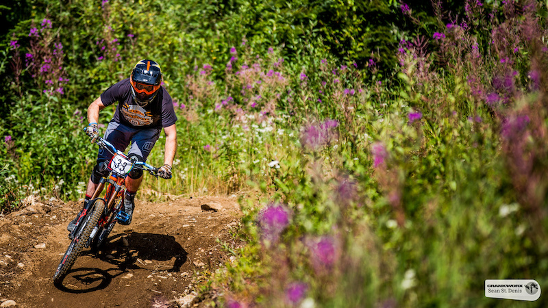 Greg Watts. Team America on the fourth stage of SRAM Canadian Open Enduro Presented by Specialized. In Whistler British Columbia Sean St.Denis