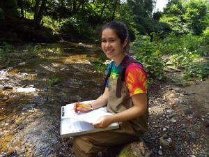 Roxanne Li, EPCAMR Water Quality Monitoring Volunteer conducting a Visual Habitat Assessment on Solomon Creek