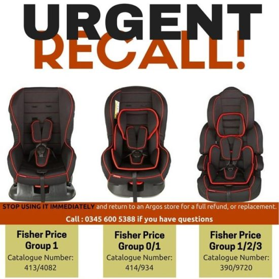 Urgent! Recall of Fisher Price Car Seats!
