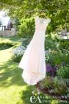 Wedding gown hangs in a tree outside Edgewood Lake Tahoe