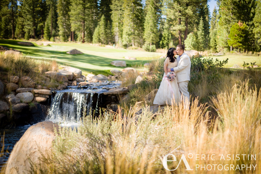 Wendi and Charlie share a private moment by the waterfall on the 10th tee at Shaffers Mill Truckee, CA
