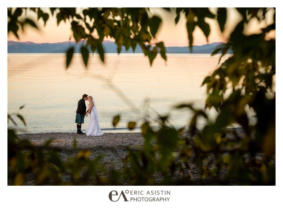 Bride and groom along the west shore of lake tahoe at the west shore cafe. Sunset Lake Tahoe
