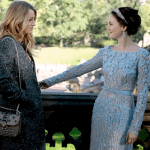 "Blake Lively (as Serena van der Woodsen) and her best frenemy Blair Waldorf (played by Leighton Meester-in Elie Saab's marvelous wedding dress, Enchanted Atelier headband, and Sequin earrings) in Central Park moments before B's big moment. Will Serena finally find the love and happiness that only two can seemingly ""chair""?"