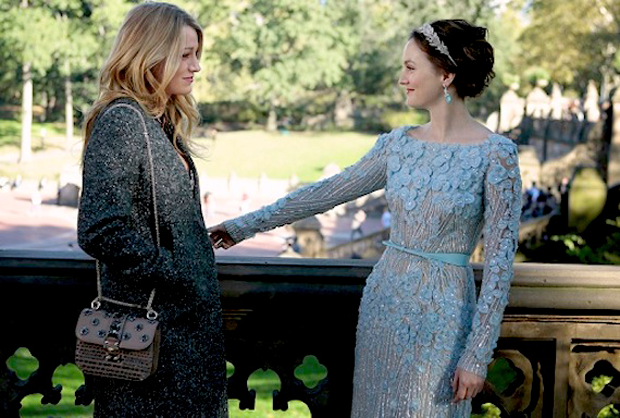 "Blake Lively (as Serena van der Woodsen) and her best frenemy Blair Waldorf (played by Leighton Meester) in Central Park moments before B's big moment. Will Serena finally find the love and happiness that only two can seemingly ""chair""?"