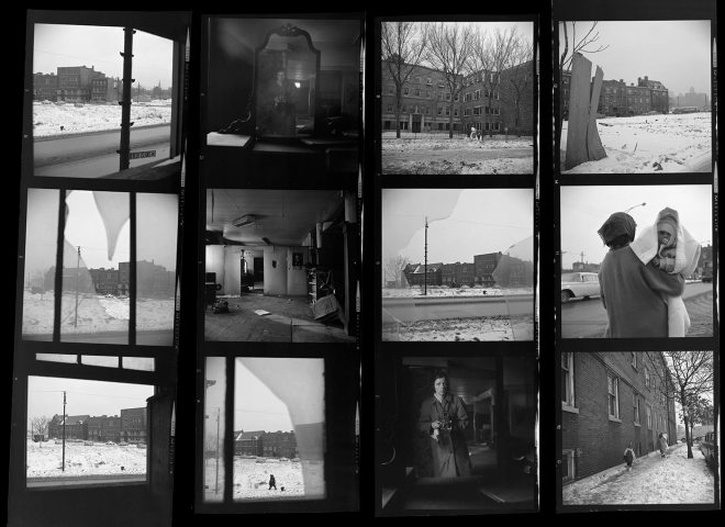 Vivian Maier Contact Sheet / Chicago, 1963. Photos taken in an abandoned area, note the self-portraits and architecture shots.