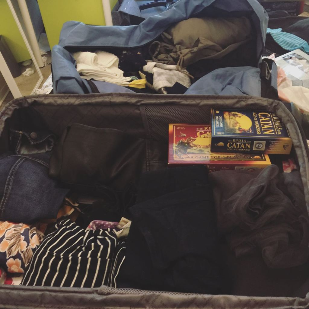 Two of the seven suitcases