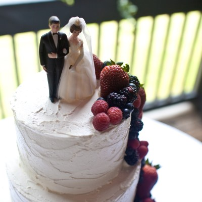 I used this vintage cake topper that my parents used on their wedding cake.