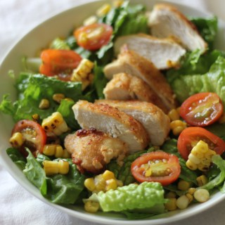 Fried Chicken Salad with Charred Corn and Tomatoes