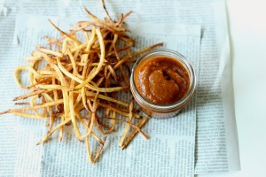 Shoestring French Fries with Peach Ketchup