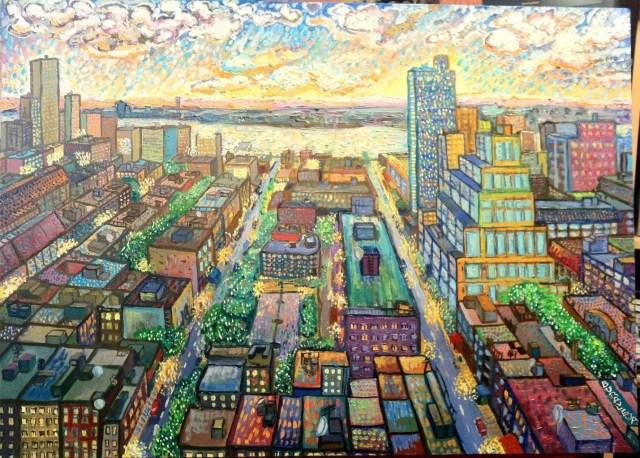 «Рассвет над Нью-Йорком».  80х60 см. Масло, холст.