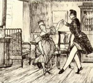 Поручик Пирогов и жена Шиллера. Иллюстрация Д. Кардовского