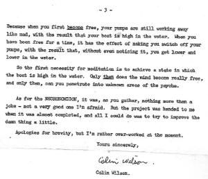 Письмо Колина Уилсона Кэти Туи (1981)