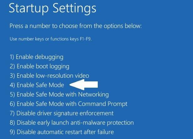 windows 10 startup settings