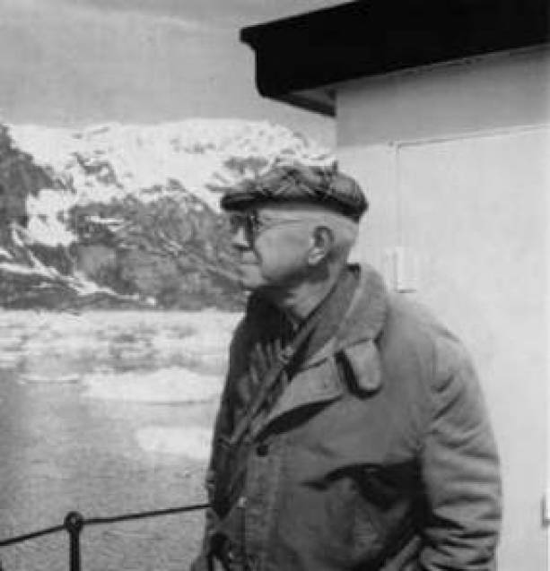William S. Cooper, Pioneer Glacier Bay ecologist, returns to Glacier Bay in June 1966, fifty years after his first visit. NPS Photo by Robert Howe