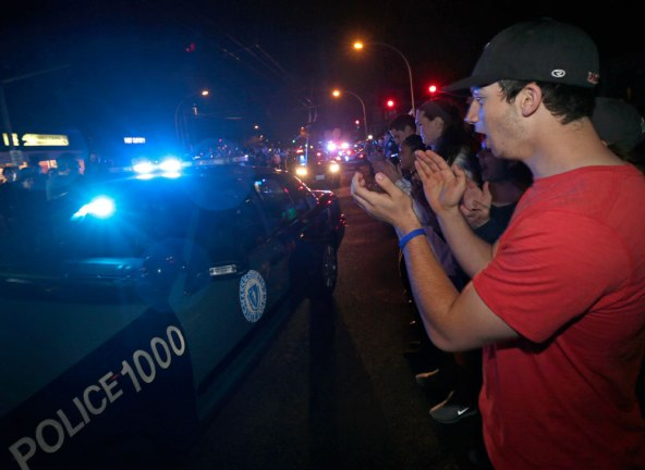 cheering cops