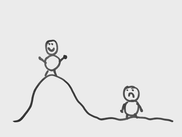 El mismo Jaimito cree que en la playa está gordo y en la cima del Everest tiene un cuerpazo.