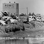 Auto wrecking yard on bay fill, 1969