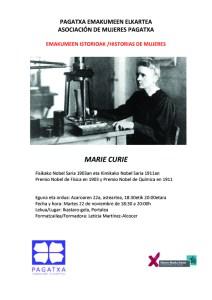 """""""Emakumeen  istorioak""""  tailerra:  Marie  Curie"""