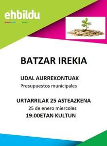 """Batzarra: """"Udal aurrekontuak"""" @ Arrate Kultur Elkartean"""