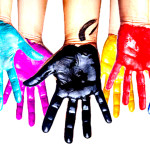 color painted hands isolated on white