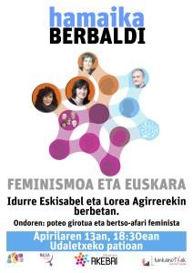 """Hitzaldia: """"Feminismoa eta euskara"""" (Idurre Eskisabel eta Lorea Agirre) @ Udaletxeko patioan"""