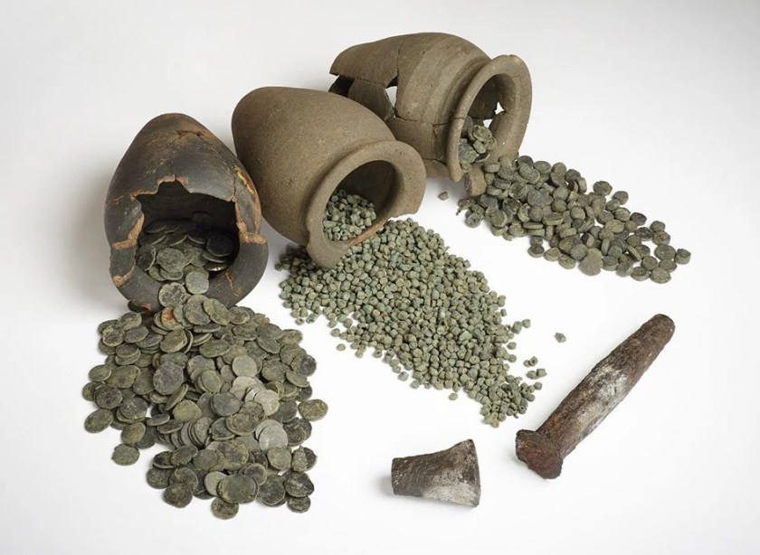 Ancient British hoards on display at the exhibition. Image © Trustees of the British Museum.