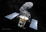 A sonda Hayabusa e o asteróide Itokawa. Crédito©: Akihiro Ikeshita
