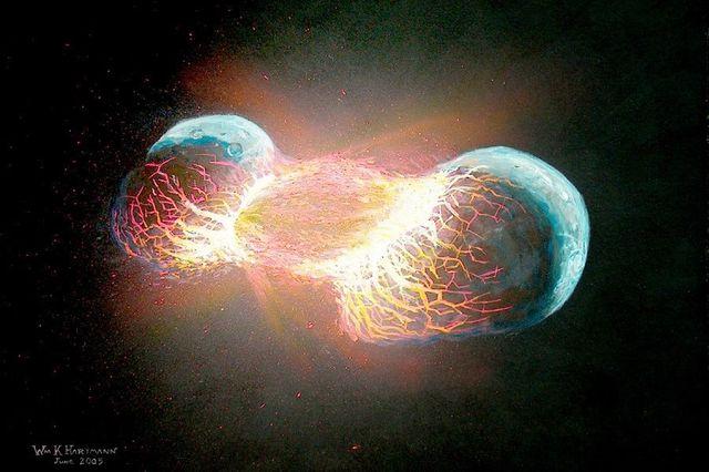 A Lua foi produzida por uma colisão frontal entre dois planetas?