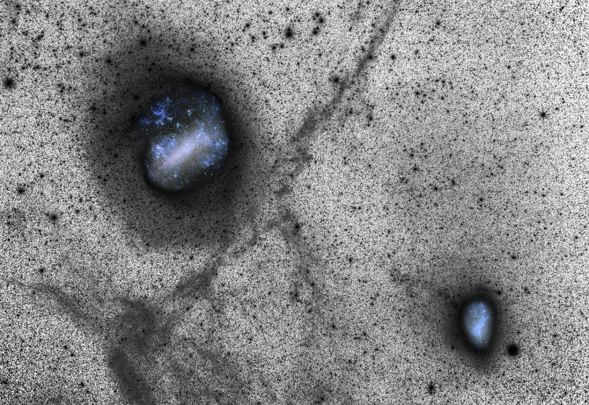 Imagens profundas das galáxias vizinhas Grande e Pequena Nuvens de Magalhães sugerem colisões
