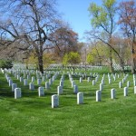 A view of headstones at Arlington National Cemetery. Photo by Ethan Smith, April 2009