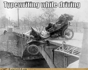 Typewriting while driving