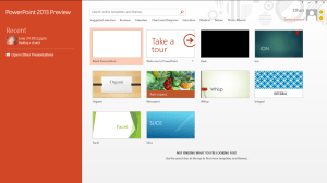 Microsoft Office PowerPoint 2013 Start screen