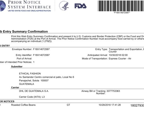 FDA Prior Notice Filings